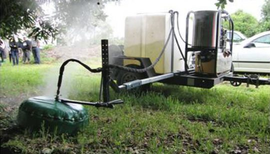 The steam weeder using the circular applicator